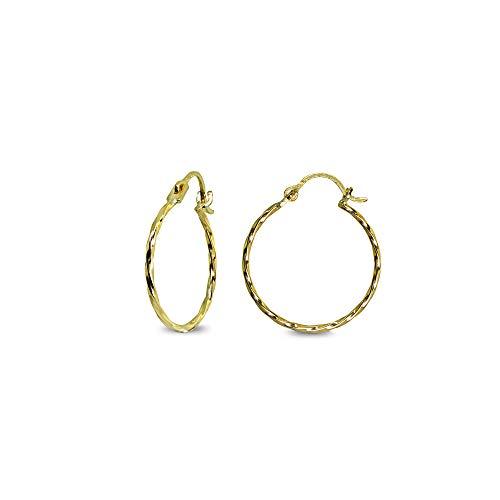 14K Gold Small 18mm Twist Round Thin Lightweight Unisex Click-Top Hoop Earrings for Women Girls Teens