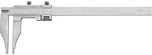 Workshop Caliper 250mm/10'' vernier 0.05mm-1/128'' read., chromed, with fine adjustment w/o points, in a box