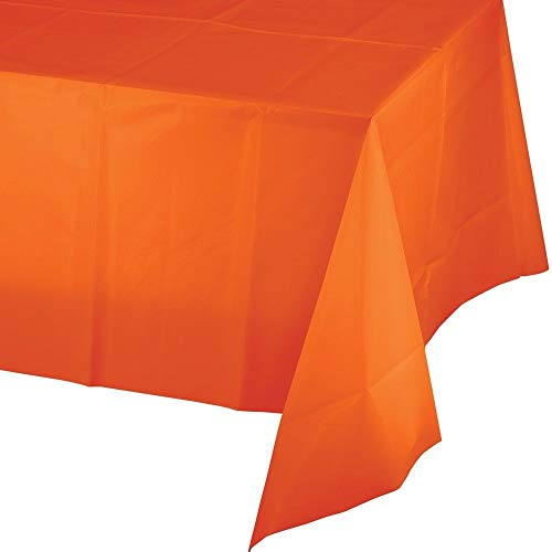 5 Pack Premium Disposable Plastic Tablecloth 54 Inch. x 108 Inch. Rectangle Table Cover Party Weddings Events Celebration (Orange)