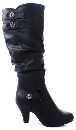 JJF Shoes Bag56 Black Dual Strap Button Slouch Knee High Kitten Heel Riding Boots-8