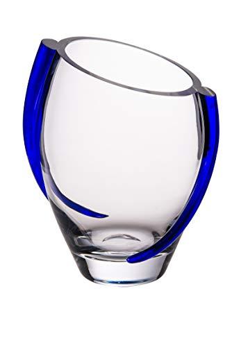 (Barski Glass Vase with Cobalt Swirl - 9.25