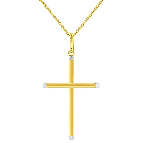 High Polished 14K Two-Tone Gold Plain Slender Cross Pendant with Chain Necklace, 16'' by JewelryAmerica