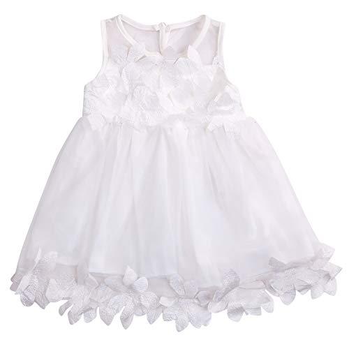 Toddler Baby Girl Lace Sleeveless Lotus Leaf Tulle Summer Vest Dress Princess Skirt (White, 3T)