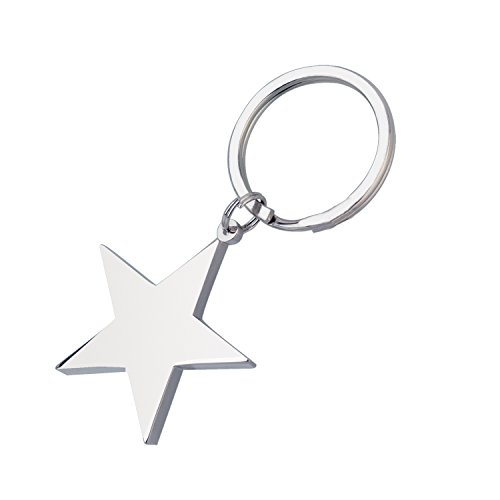 Solid Star, Chrome-Plated Split-Ring Keychain ()