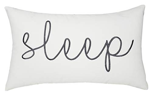 EURASIA DECOR DecorHouzz Sleep Sentiment Embroidered Pillow Cover Cushion Cover Pillow Cases Throw Pillow Decorative Pillow Wedding Birthday 12x20 (Ivory)
