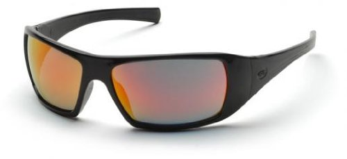 - Pyramex SB5645D Goliath Safety Glasses Black Ice Orange Mirror Lens (12 Pair)