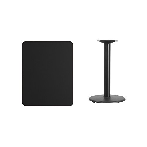 Flash Furniture 24'' x 30'' Rectangular Black Laminate Table Top with 18'' Round Table Height Base by Flash Furniture