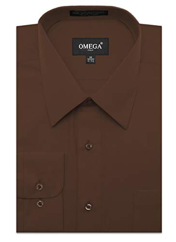JC DISTRO Mens Regular Fit Dress Shirt w/Reversible Cuff L 16-16.5N-36/37S Brown Shirts