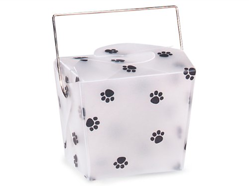 Gift Pail 12 Count - Small - Paw Print Frosted Take Out Boxes