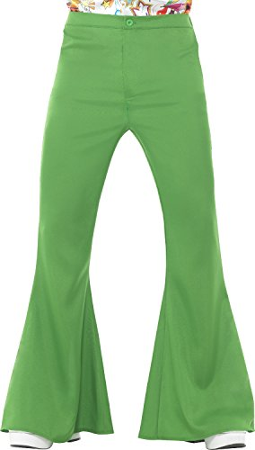 Men's 70s Groovy Disco Fever Flared Green Pants Costume Large 42-44