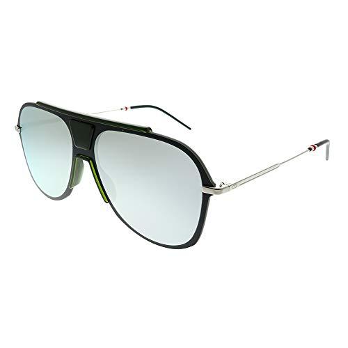 Dior Homme Dior 0224S 3OL 0T Black Green Plastic Aviator Sunglasses Silver Mirror Lens (Dior Sonnenbrille Silber)