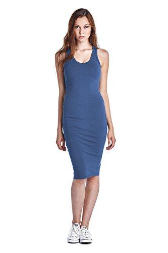 LaClef Women's Sleeveless Basic Racer back Tank Midi Cotton Casual Dress (Large, Blue (Cotton Sleeveless Jeans)