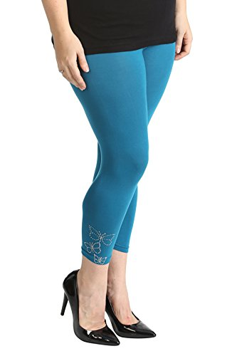 Butterfly Foil Cropped Leggings Teal 28-30