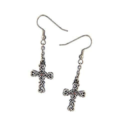 Ky & Co YesKela Celtic Vine Cross Lead Free Alloy Pewter Earrings