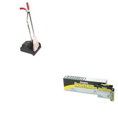 KITEVEEN91UNGEDPBR - Value Kit - Ergo Dustpan/Broom, 12quot; Wide (UNGEDPBR) and Energizer Industrial Alkaline Batteries (EVEEN91)