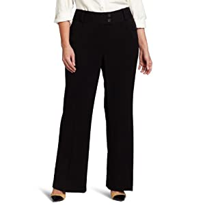 Rafaella Women's Plus-Size Curvy-Fit Gabardine Bootcut Trouser, Black, 16W