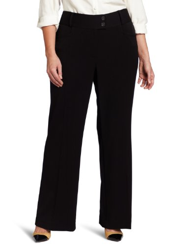 Rafaella Women's Plus-Size Curvy Fit Gaberdine Boot Leg Trouser, Black, (Wide Leg Gabardine Pant)