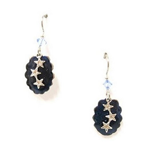 Silver Forest of Vermont Falling Star Midnight Blue Earrings Made in USA