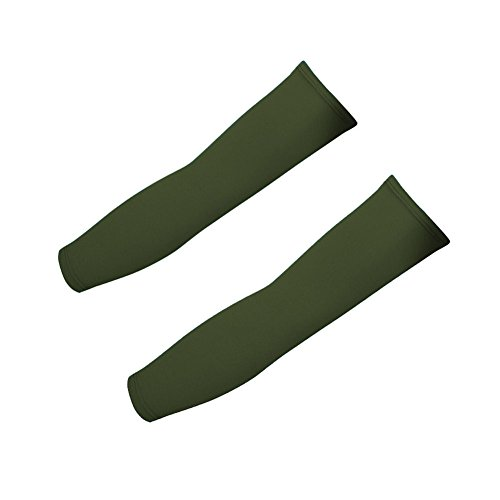 Koolip 1Pair-Sun UV Protection Compression Arm Sleeves-Football Basketball Golf Cooling Arm Cover Sleeves (Army Green)