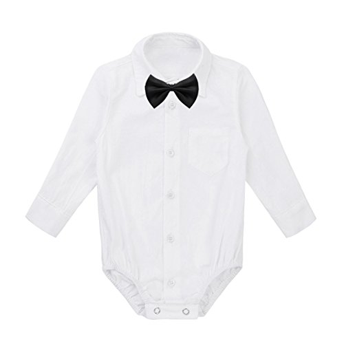 Boys Dressing Up Outfit (YiZYiF Baby Boys' Collar Long Sleeve Formal Dress Shirt Romper Bodysuit Wedding Party Outfits White+Black Bowtie 3-6)