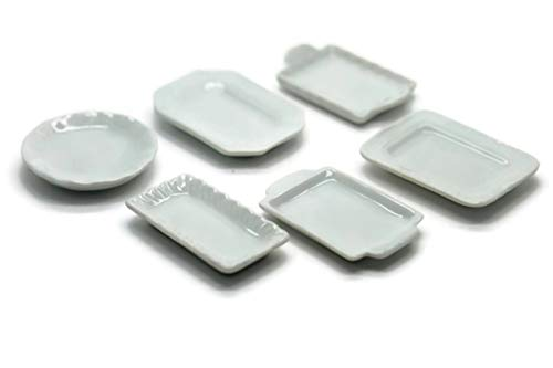 12 Mix Ceramic White Baking Serving Tray Plate Dollhouse Miniatures Food Kitchen by Cool Price