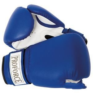 ProForce Leatherette Boxing Gloves, Blue & White 18 oz (Proforce Leatherette Boxing Gloves)