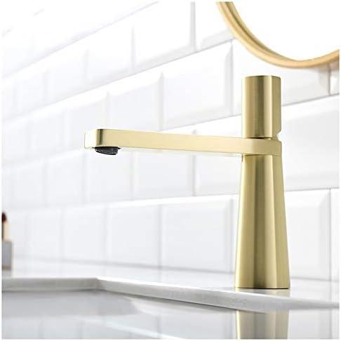 V3の浴室の蛇口 現代のミニマリストの洗面化粧台のフル銅円錐形の蛇口温水と冷水空調クリエイティブファッションホームホテル単穴の蛇口 (色 : Gold)