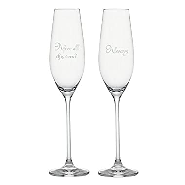 After All This Time? { Always } Champagne Flutes. Set of Two Laser Engraved. Wedding, Anniversary, Harry Potter and the Deathly Hallows