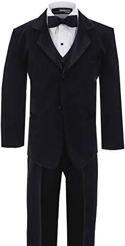 Little Boy's Usher Tuxedo Suit No Tail G210 (7, Black) ()
