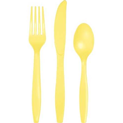 288-Count Touch of Color Premium Plastic Cutlery Assortment (Fork, Spoon, Knife), Mimosa Yellow ()