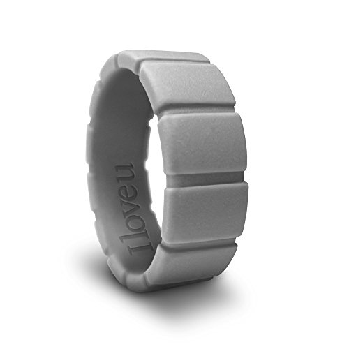 AZCOO - Gray 7 - Silicone Wedding Ring for Men Women 3D Edge Flat Square Shape Engraved Love Design ()
