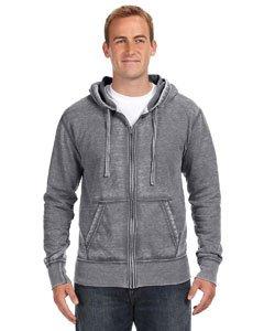 J. America Men's Zen Full Zip Hooded Sweatshirt, Dark Smoke Gray, - Hoodie Distressed