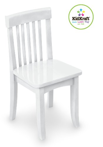 KidKraft Avalon Wooden Single Classic Back Desk Chair For Children - White