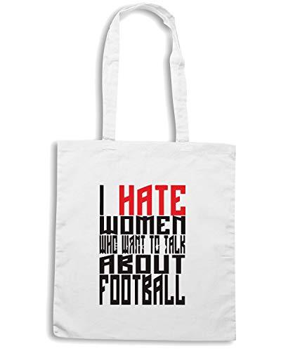 Shopper FOOTBALL WHO TALK Speed I Shirt ABOUT Bianca HATE WOMEN Borsa WC0398 qw1FAxTEw