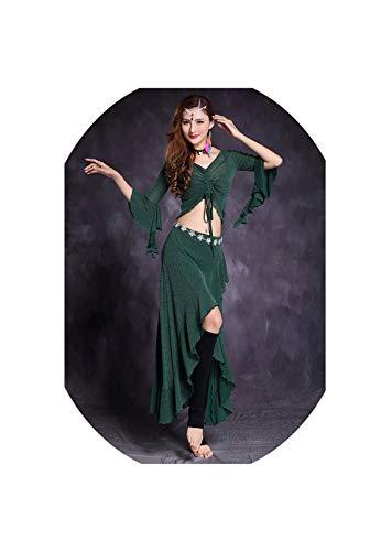 Long Dress Wavy Edge Butterfly Sleeve Bellydance Practice Clothing Dancewear Suit,Dark Green,L -