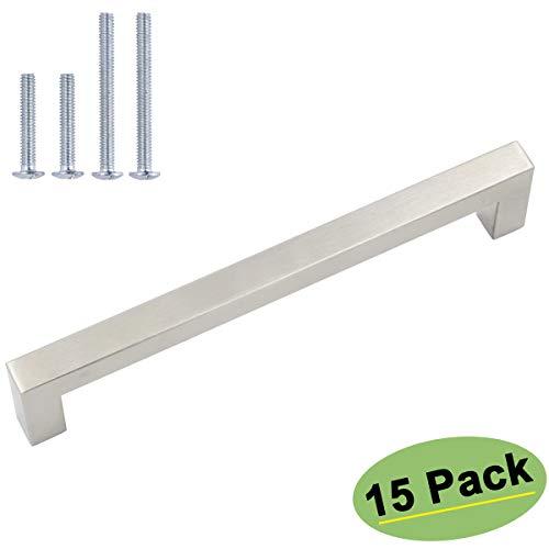 homdiy Brushed Nickel Drawer Pulls 7-1/2inch Hole Center Cabinet Handles 15 Pack - HDJ12SN Modern Kitchen Cabinet Handles T Bar Cabinet Pulls Nickel Metal Drawer Pulls for Bathroom, Closet, Wardrobe