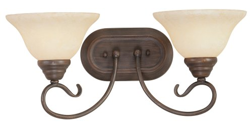 New Imperial Bronze Finish - Livex Lighting 6102-58 Coronado 2 Light Imperial Bronze Vanity with Vintage Scavo Glass