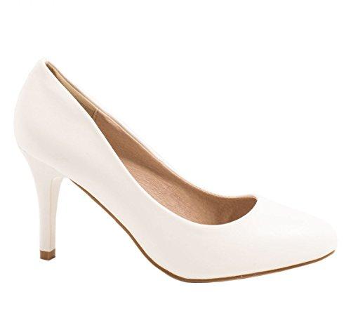 Abendschuh Pumps Damen Heels Blanco Elara High Stiletto blanco Lederoptik TYwHqCH