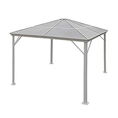 Christopher Knight Home Halley Outdoor 10 x 10 Foot White Rust Proof Aluminum Framed Hardtop Gazebo (No Curtains)