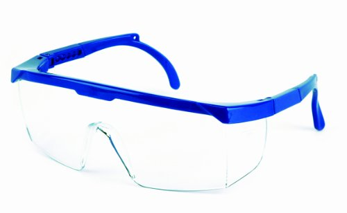 Sellstrom Lightweight, Scratch Resistant Protective Eyewear Safety Glasses with Adjustable Temples, Clear Lens, Small Blue Frame (Pack of 12), S73802
