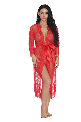 Women Lace Maxi Lingerie Gown Mesh Sheer Sleepwear Outfit for Party (Wine Red,S)