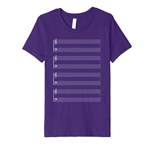 Kids Sheet Music Score Staff Paper Treble Bass T-shirt 8 Purple