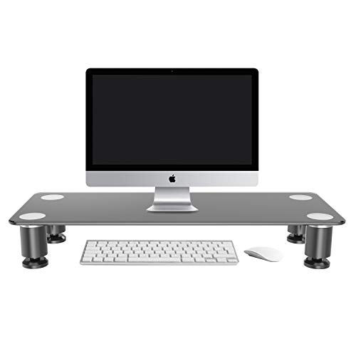 Tempered Glass Monitor Stand Riser & Computer Desk for Laptop, Desktop, Keyboard, Flat Screens, iMac, Printers, and TV - up to 20kg/44lbs | Black