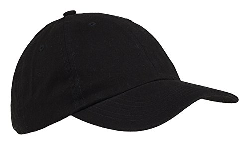 (Big Accessories Youth 6-Panel Brushed Twill Unstructured Cap, BLACK, One Size)