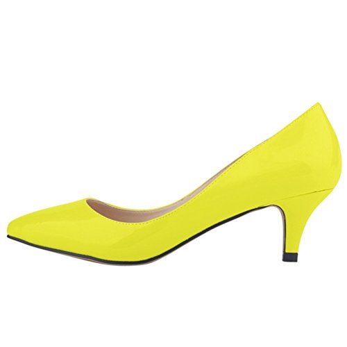 OCHENTA Women's Candy Color Pointed Toe Mid Heel PU Pump Shoes yelllow h5OD5K