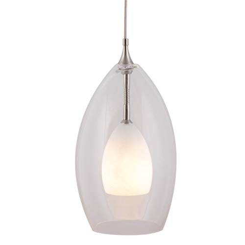 Direct-Lighting 1 Light Mini Pendant Light with Clear Outer Glass and White Opal Inner Glass Shades, Brushed Steel Finish Canopy DPNL-49339-CLRWH