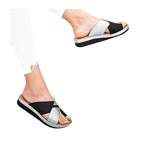 - Women's Flats Wedges Platform Sandals Comfy Open Toe Beach Travel Shoes Heel Massage Soft Bottom Non-Slip