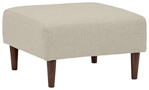 Rivet Ava Mid-Century Modern Upholstered Ottoman, 25.6 W, Optical Grey
