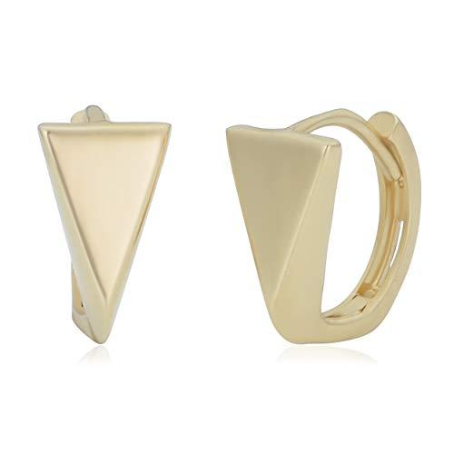 Kooljewelry 14k Yellow Gold Geometric Triangle Huggie Earrings