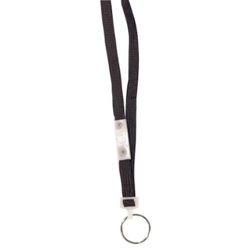 C-Line Breakaway Neck Lanyard with Split Ring, Black, 38 Inches Long, 24 per Pack (88111)